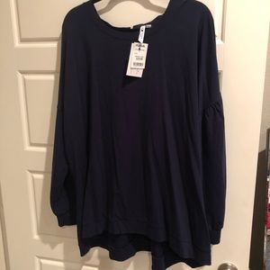NWT Navy blue sweatshirt with back tie detail 3x
